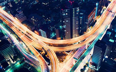 Ispirazione urbana decorazione rete stradale notte